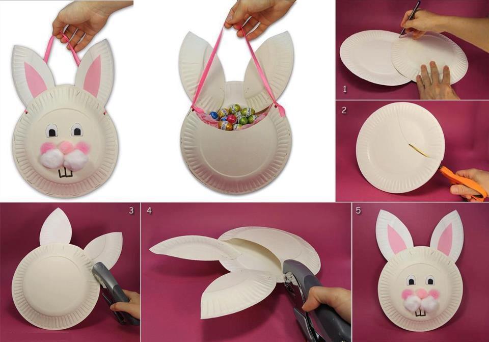faire un lapin avec deux assiettes en plastiques